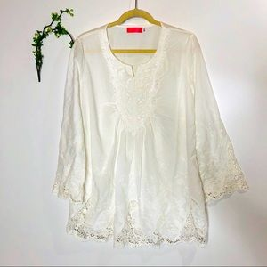 White Embroidered Tunic Top Cover Up